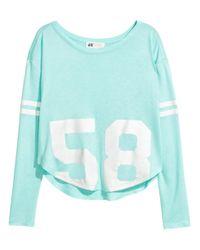 H&M | Blue Printed Top | Lyst
