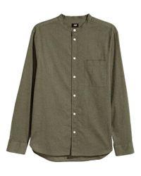 H&M - Green Grandad Shirt Regular Fit for Men - Lyst