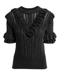 H&M - Gray Textured-knit Jumper - Lyst