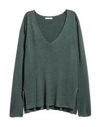 H&M | Green Fine-knit Jumper | Lyst