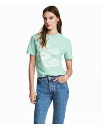 H&M | Green Wide T-shirt | Lyst