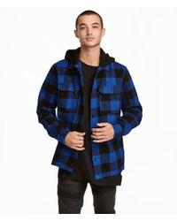 H&M Blue Hooded Flannel Shirt for men