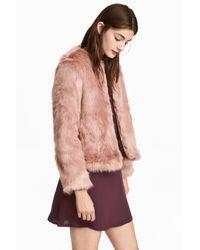 H&M Pink Faux Fur Jacket