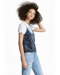 H&M Blue Strappy Velour Top