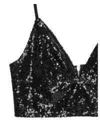 H&M - Black Sequined Bustier - Lyst