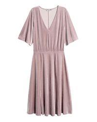 H&M Pink V-neck Velour Dress