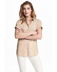 H&M Natural Short-sleeved Cotton Shirt