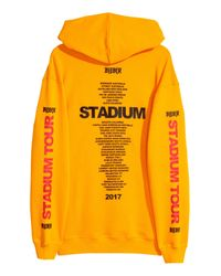 H&M Yellow Printed Hooded Shirt for men