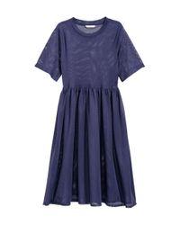 H&M - Blue Mesh Dress - Lyst
