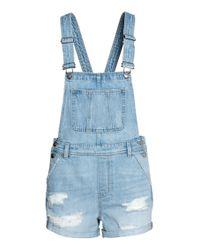 Salopette short en denim H&M en coloris Blue