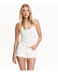 H&M - White Ribbed Top - Lyst