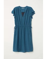 H&M - Blue V-neck Dress - Lyst