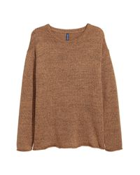 H&M Brown Knit Sweater for men