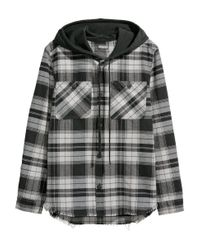 H&M Multicolor Hooded Shirt for men