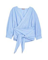 H&M Blue + Wrapover Cotton Blouse