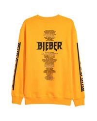 H&M Yellow Sweatshirt With Print Motifs for men