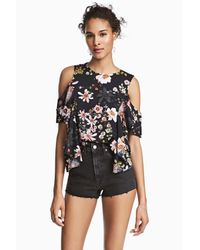 H&M Black Ruffled Open-shoulder Blouse