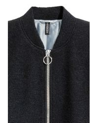 H&M Black Wool-blend Bomber Jacket