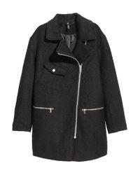 H&M - Black Wool-blend Biker Coat - Lyst