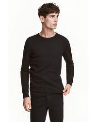 H&M Black Waffled Top for men