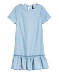 H&M Blue Flounced Denim Dress