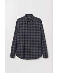 H&M Blue Flannel Shirt Regular Fit for men