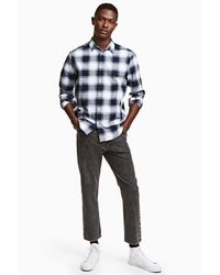 H&M Black Straight Cropped Jeans for men