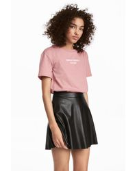 H&M - Pink Wide T-shirt - Lyst