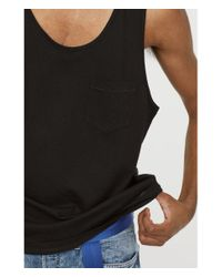 H&M Black Vest Top With A Chest Pocket for men