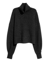 H&M Black Mohair-blend Polo-neck Jumper