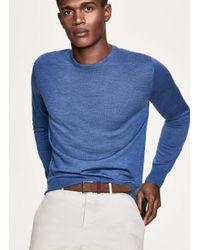 Hackett - Blue Elbow-patch Wool Sweater for Men - Lyst