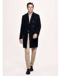 Hackett - Blue Double-breasted Washed Wool Coat for Men - Lyst
