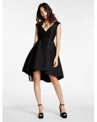 Halston | Black Silk Falle Structured Dress | Lyst