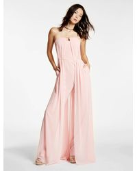 Halston | Pink Crepe Jumpsuit With Georgette Overlay | Lyst