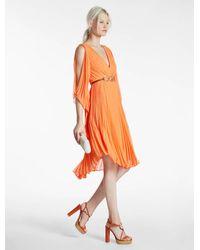 Halston | Orange Pleated Georgette Dress | Lyst