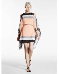 Halston | Multicolor Scarf Printed Crinkle Chiffon Dress | Lyst