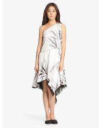 Halston   White One Shoulder Printed Dress   Lyst