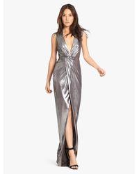 Halston   Gray Metallic Jersey Gown With Twist   Lyst