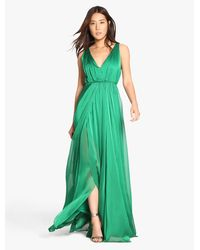 Halston Heritage Green Iridescent Chiffon Gown