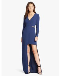 Halston Heritage Blue Chain Embellished Hi Lo Crepe Gown