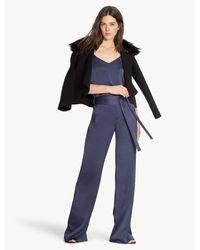 Halston Heritage Black Detachable Fur Collar Coat