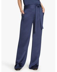 Halston | Blue Flowy Satin Back Crepe Pant | Lyst