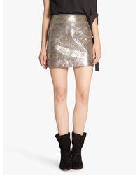 Halston Heritage Gray Metallic Leather Mini Skirt