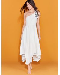 Halston Heritage White One Shoulder Ruffle Crepe Gown