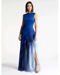 Halston Heritage Blue Ombre Voile Satin Gown