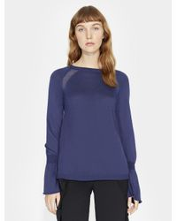 Halston Heritage Blue Cashmere Blend Sweater With GGT Inserts