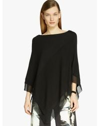 Halston | Black Poncho Sweater With Georgette Insert | Lyst
