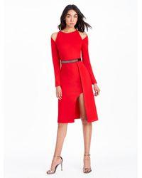 Halston Heritage Red Cold Shoulder Belted Crepe Dress