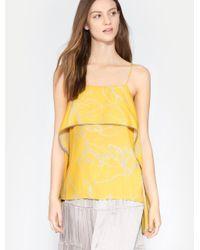 Halston Heritage Yellow Printed Flowy Drape Cami Top