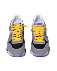 Golden Goose Deluxe Brand Gray Running Sneaker In Grey/yellow for men